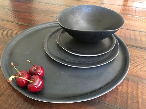 This four-piece minimalist handmade porcelain dinnerware set is both rustic and elegant it can be beautifully combined with any decor & Black Dinnerware Set Handmade Dinnerware Set Pottery Plates ...