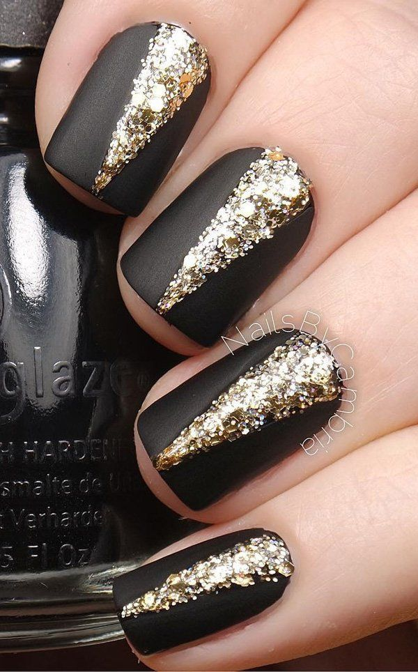 65 Winter Nail Art Ideas | Matte nail polish, Matte nails and Gold ...