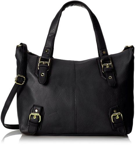 DEL MANO Swaggar Satchel with Strap Top Handle Bag, Black, One Size