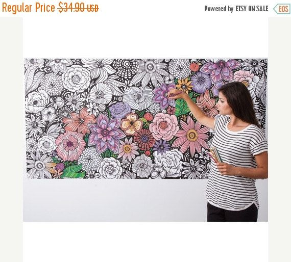 Coloring Wallpaper Wall Art To Color Giant Size Floral