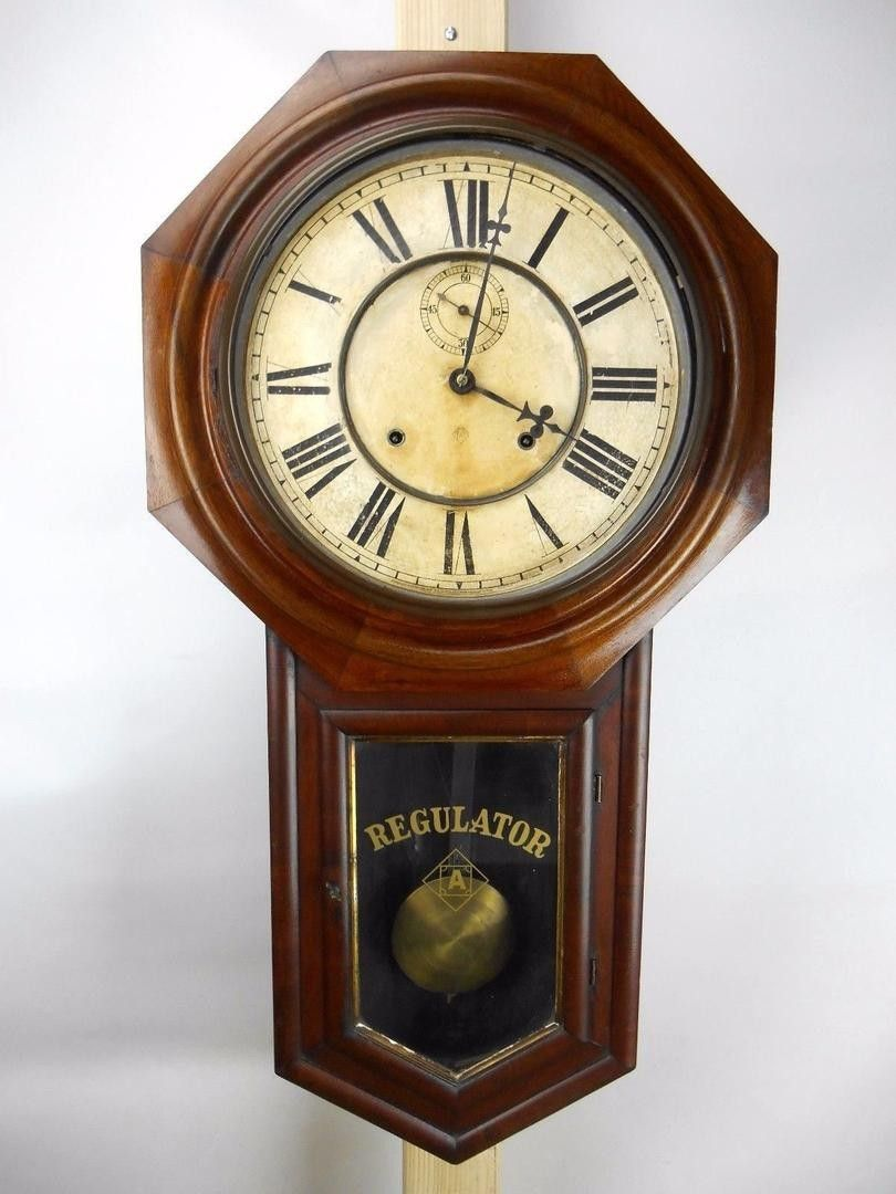 Approximate Date 1880 1915 Manufacturer Anosnia Clock Co Model Office Finish Original Type Schoolhouse Regulator Wall Cl Clock Ansonia Clock Wall Clock