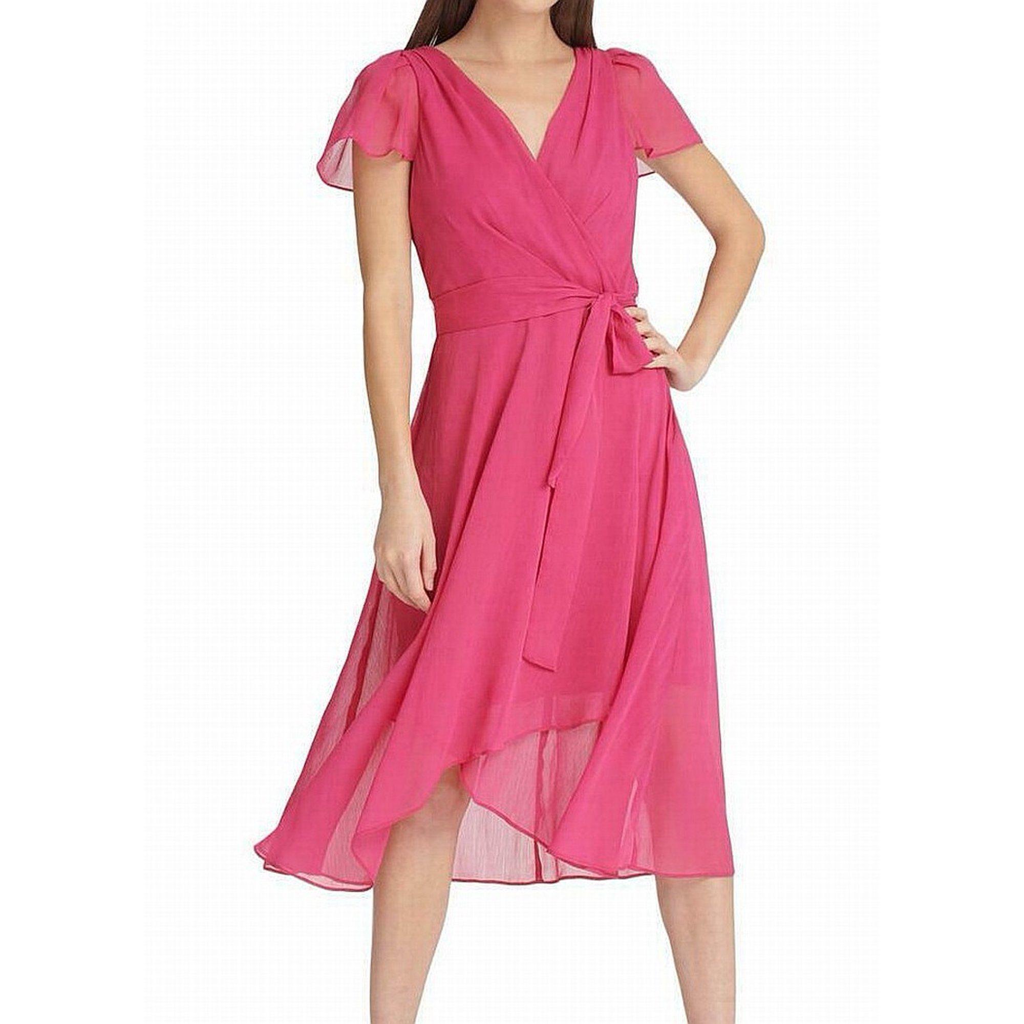 Dkny Dkny Womens Pink Short Sleeve V Neck Tea Length Sheath Cocktail Dress Size 4 Walmart Com Fuschia Dress Womens Dresses Dresses [ 2000 x 2000 Pixel ]
