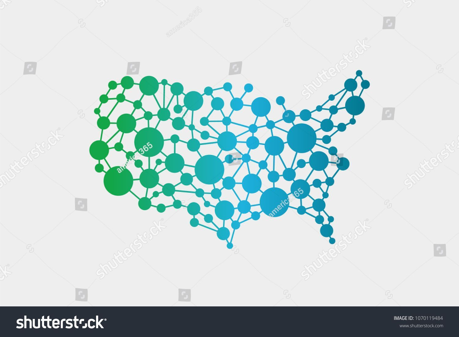 USA United States Network Map. Vector Graphic Design ...