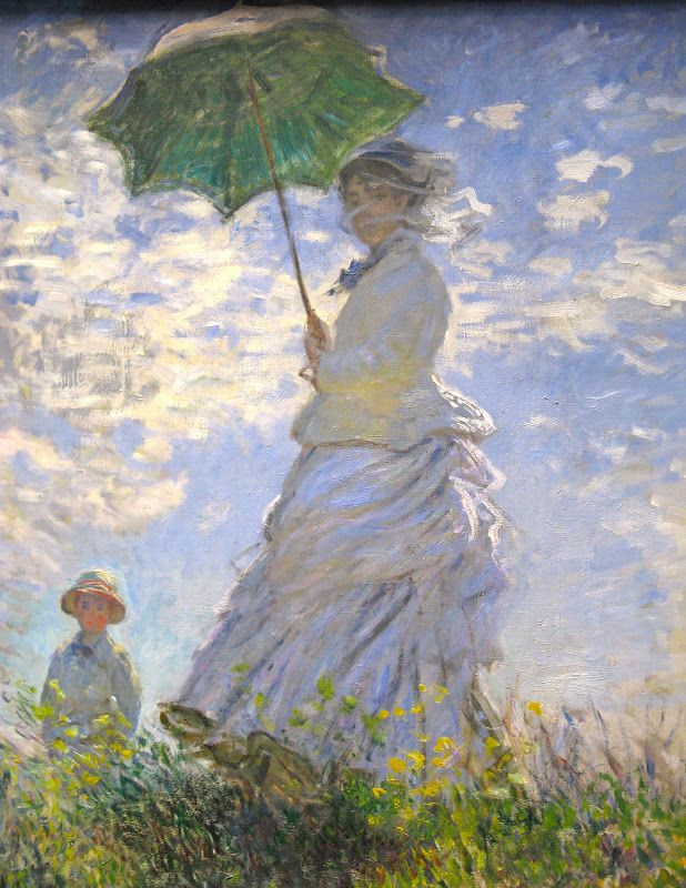 a40f9d864a0 Claude Monet s Woman with a Parasol is a painting depicting Monet s wife  with the wind billowing around her in a field. Parts of the canvas were  left bare ...