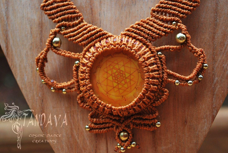 Unique Hand Crafted Macrame Necklace Shree Yantra Boho