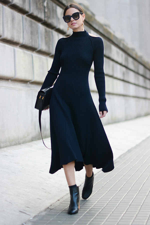 long dress ankle boots