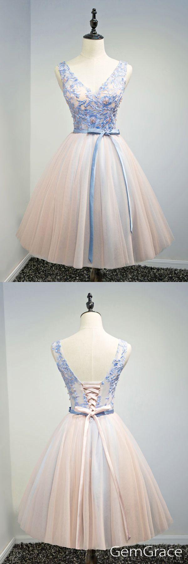 V-neck short tulle prom party dress