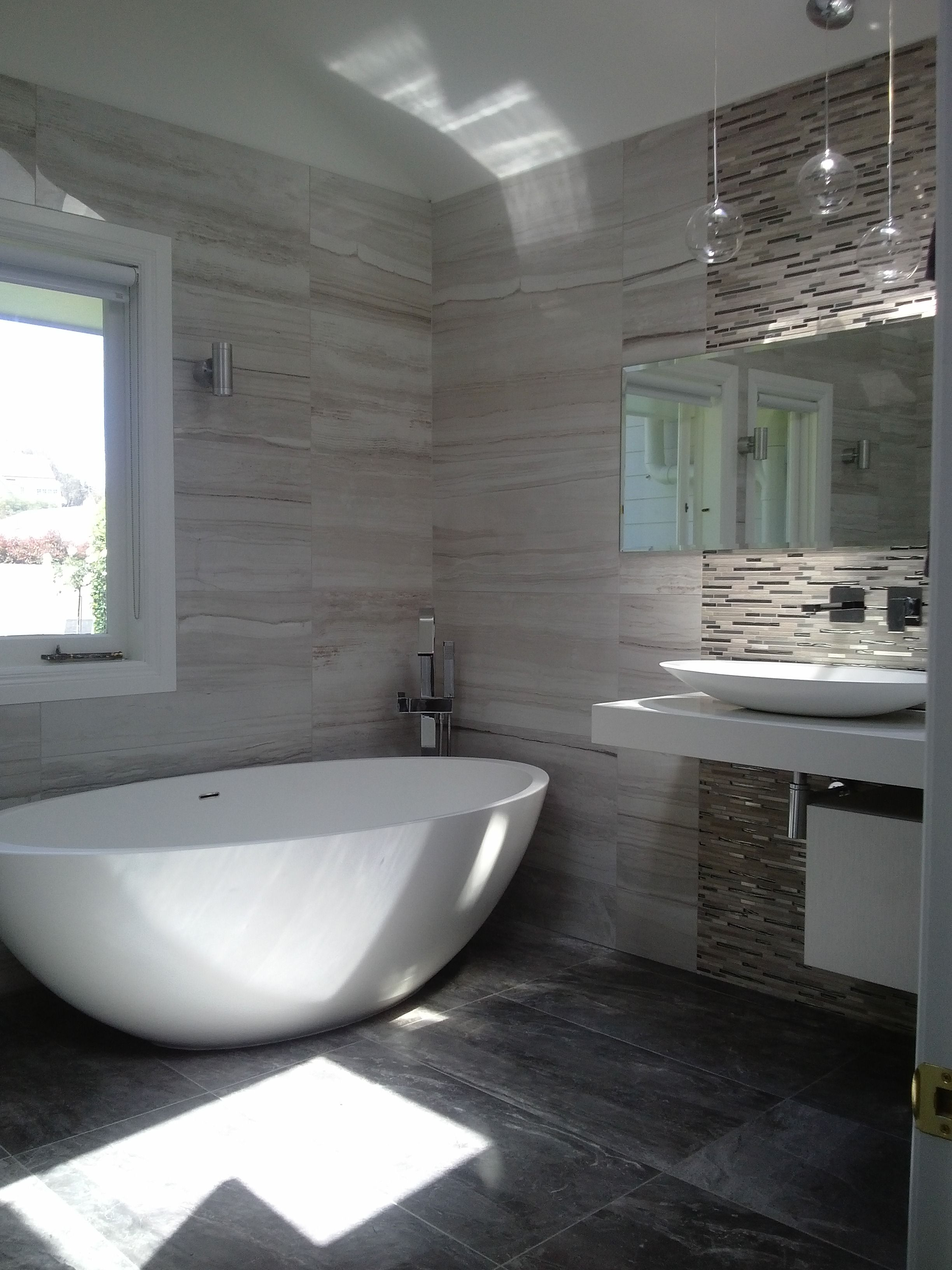 Love the use of the stone mix range with mosaic feature for Feature wall tile ideas