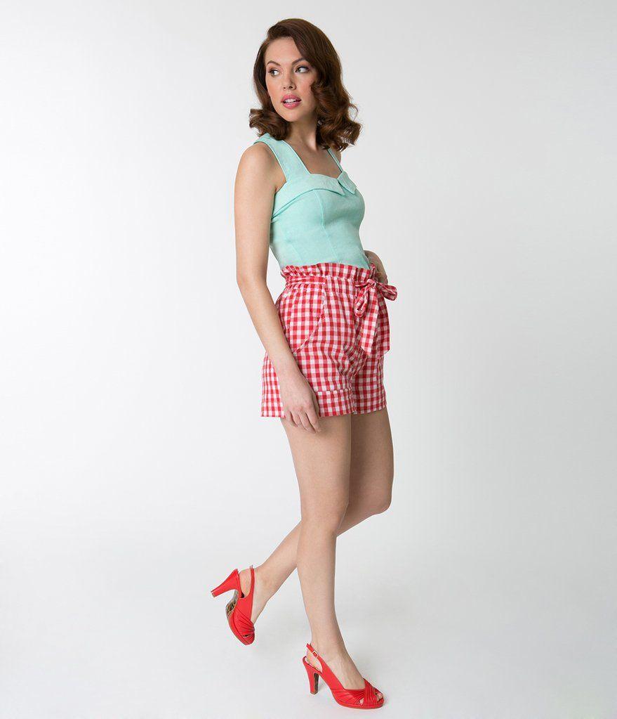 4aa9c8f48 Red & White Gingham High Waisted Ruffle Cotton Shorts | Festive Fun ...
