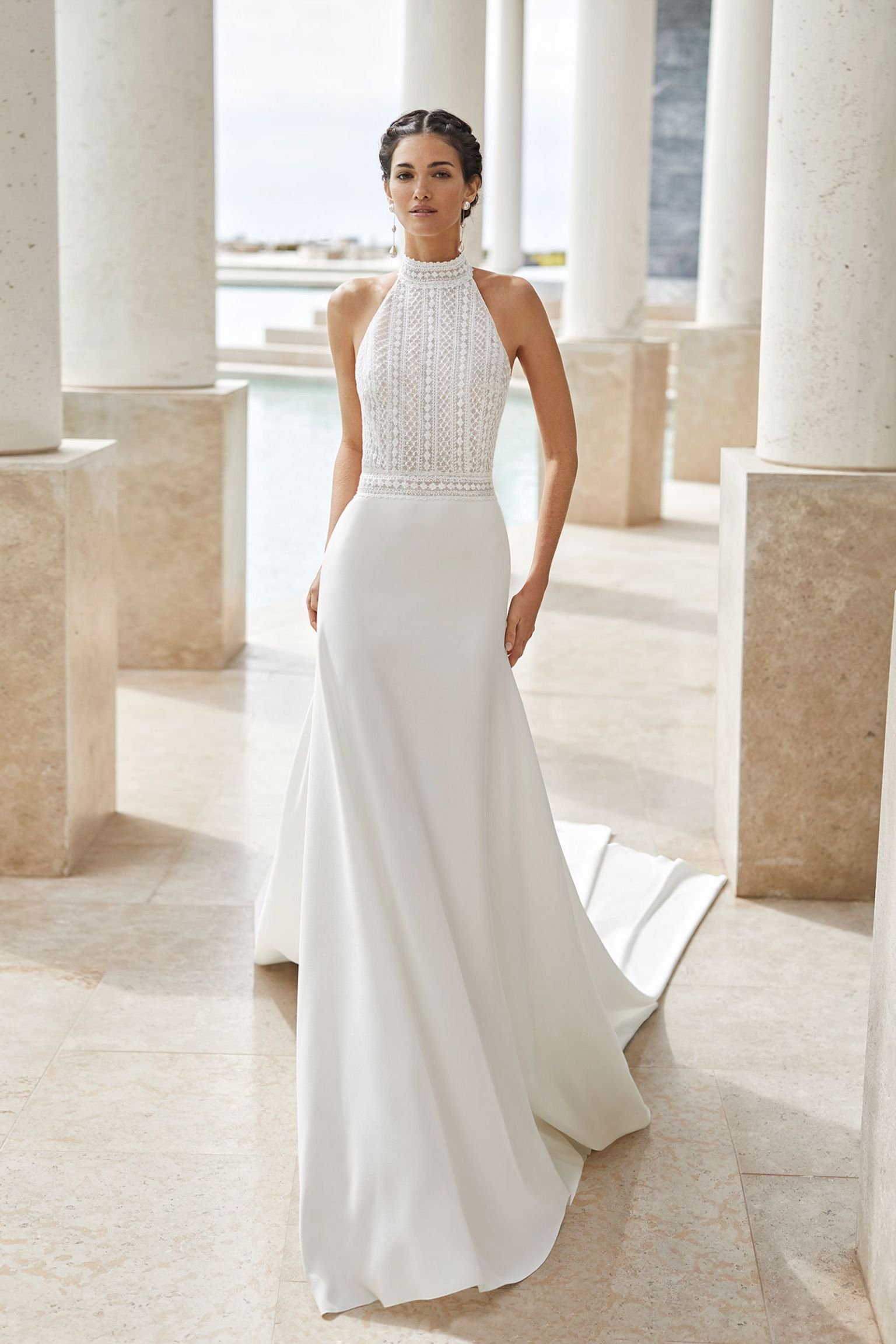 Lightweight aline wedding dress in beaded lace and crepe