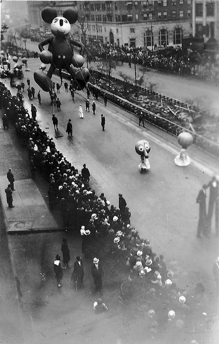Mickey Mouse's First appearance in the Macy's Thanksgiving Parade, NYC, 1934.