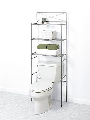 Shelf Towels Storage Bathroom Space Saver Over The Toilet 3 Bath Cross Bar Metal Over Toilet Storage Metal Bathroom Shelf Bathroom Space Saver