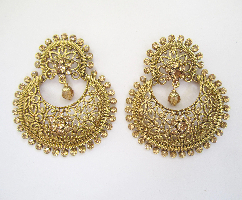 Gold Bridal Round Chand Bali Earrings Indian Pearl Drop Punjabi