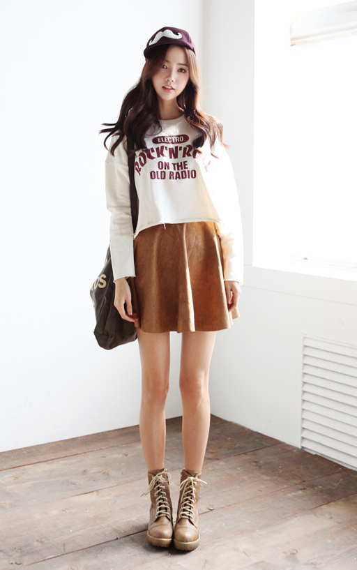 Crewnecks and skater skirts with boots perfect casual girly match shoes clothes Korean fashion style shoes