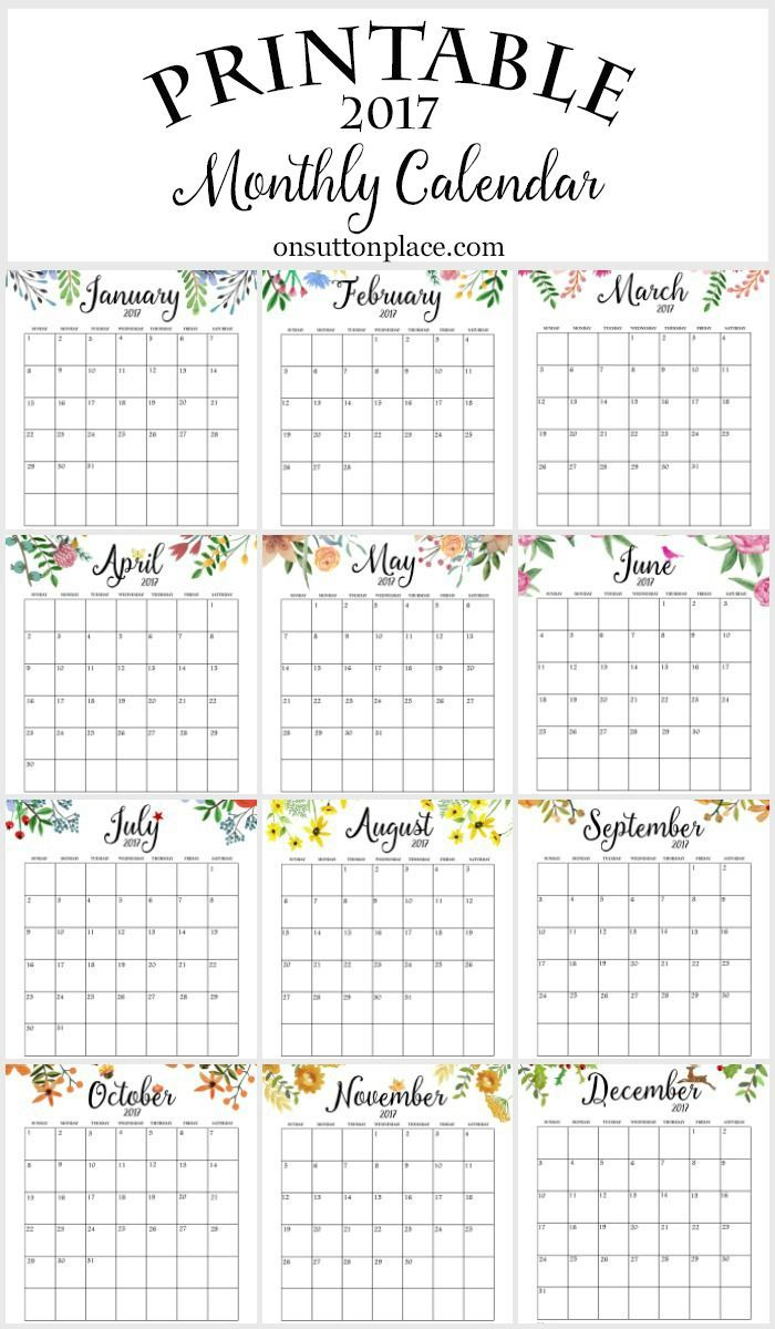 Monthly Calendar Year : Free printable monthly calendar