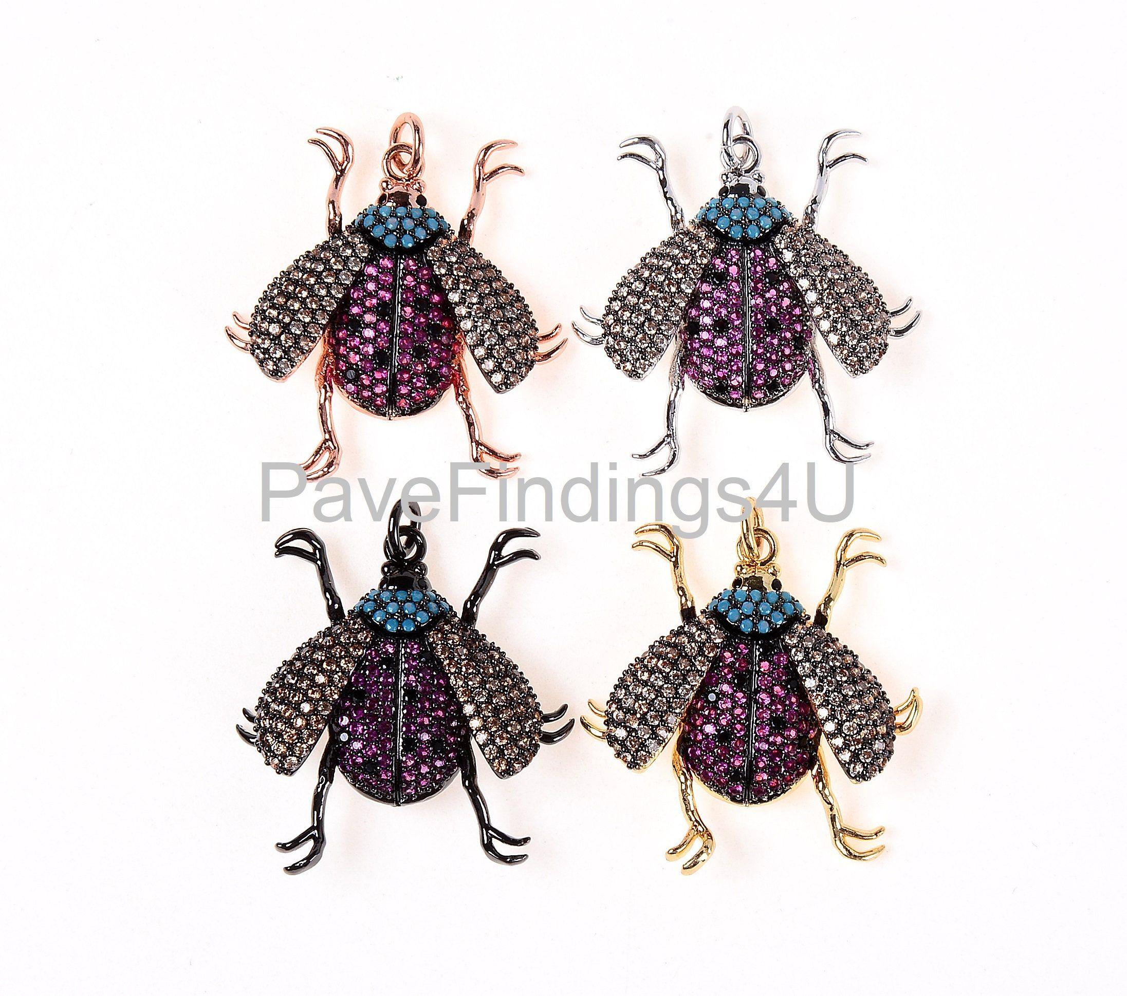 c84345217 Inspired LADYBUG Pendant, CZ Micro Pave LadyBug Charm, Ladybug/ Beetle/  Bugs Charm, Gold/ Rose Gold/ Silver/ Black Tone, 29X27MM|CP183A by  PaveFindings4u on ...