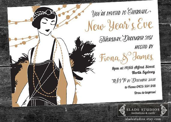 New Years Eve Party Invitation Featuring 1920s Great Gatsby Etsy 1920s Party Invitations Party Invitations New Years Eve Party