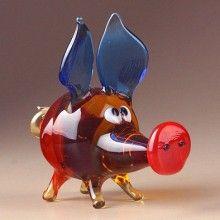 Wild Pig Glass Figurine