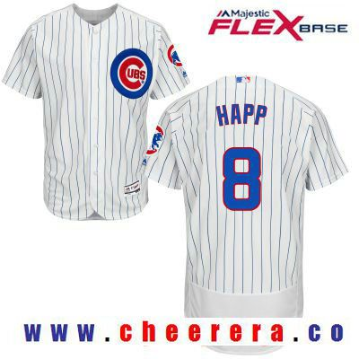 eacf138b7 Men s Chicago Cubs  8 Ian Happ White Home Stitched MLB Majestic Flex Base  Jersey