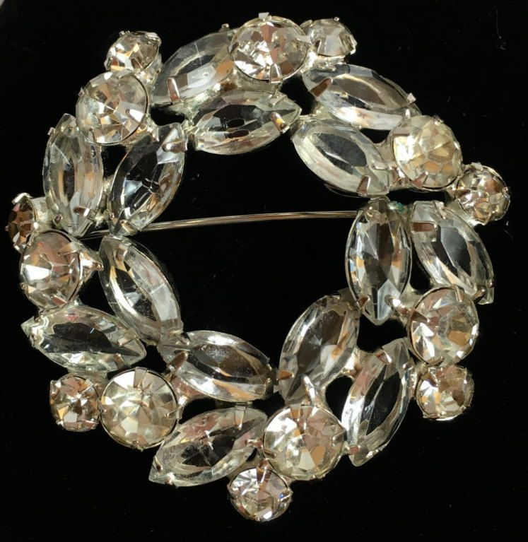 Circle Brooch, Wreath Navette, Vintage DeLizza & Elster, Large Juliana Crystal Clear Pin by SunsetMountainShop on Etsy