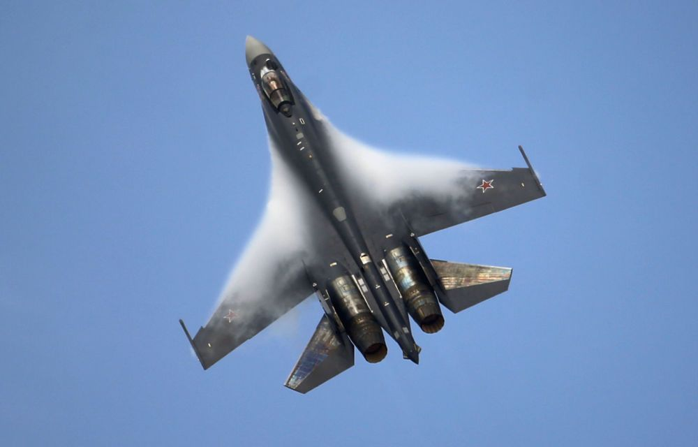 A Sukhoi Su 35 Jet Figther Performs Its Demonstration Flight