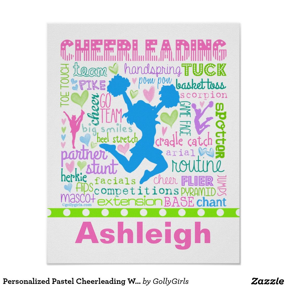Cheerleading typography poster with beautiful and bright colors ...