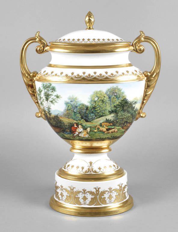 Hutschenreutherdresden Vase Landschaftsdekor Um 1975 Goldene
