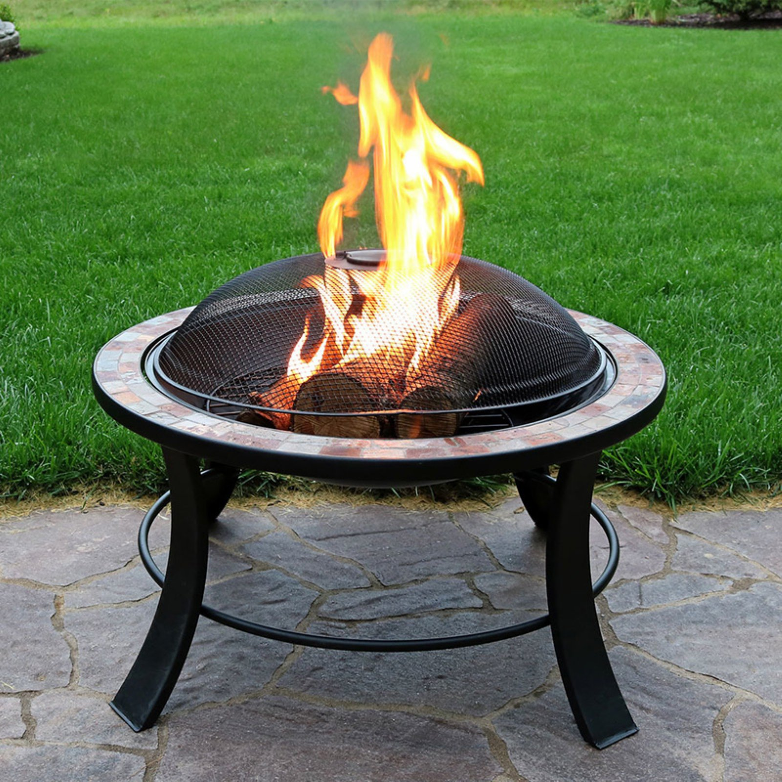 Sunnydaze Decor Natural Slate 30 Diam Fire Pit With Spark Screen Wood Burning Fire Pit Fire Pit Table Fire Pit