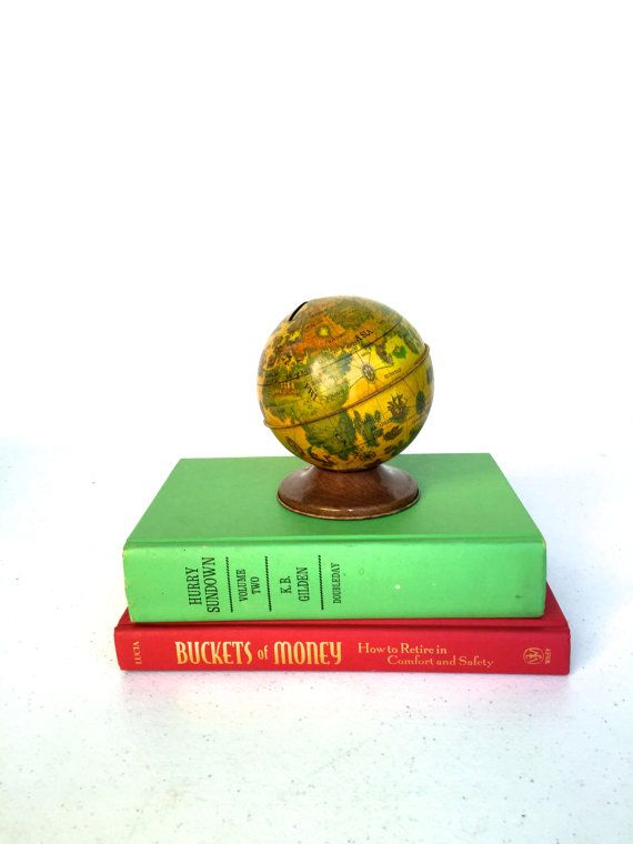 Vintage Metal World Globe Bank by 33rdStreetRevisited on
