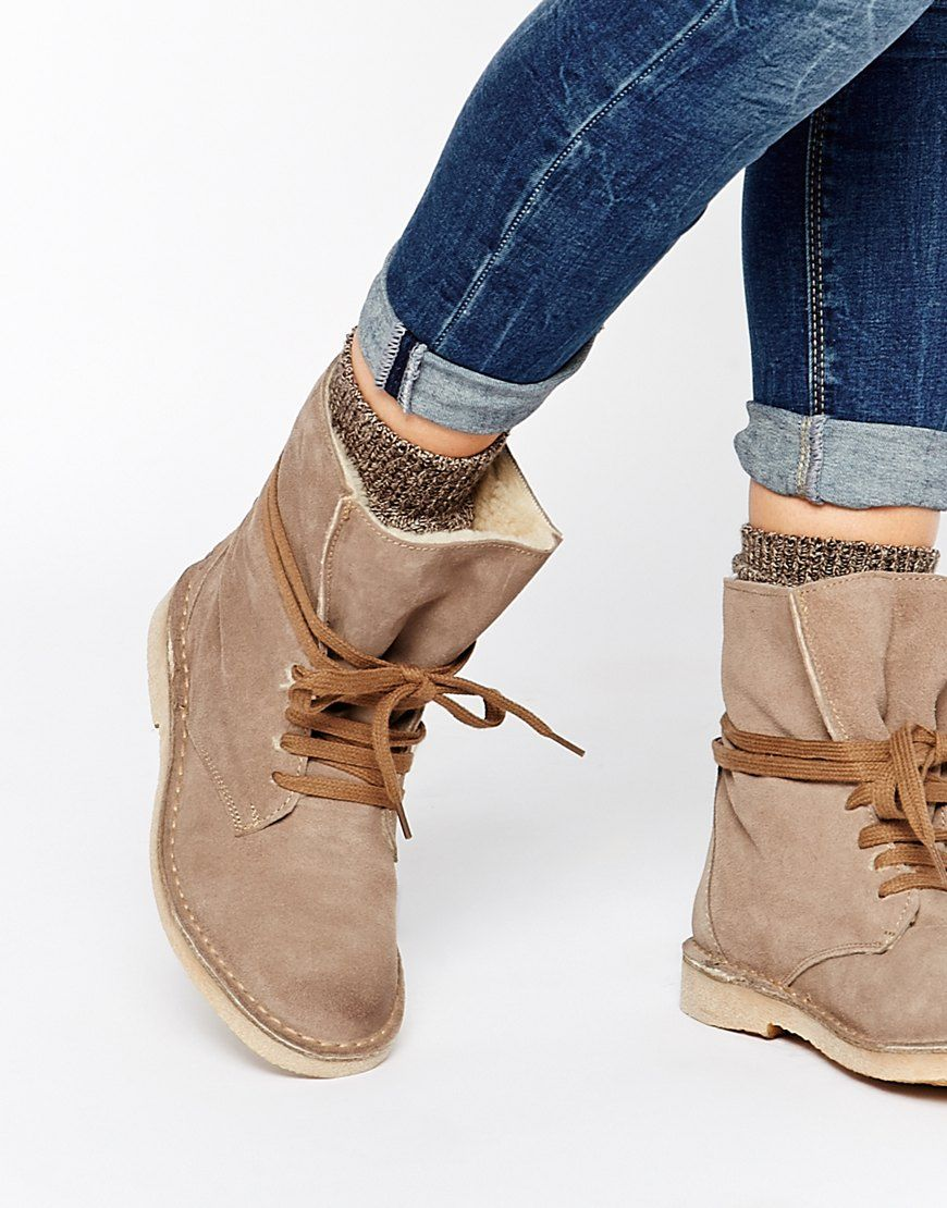 Image 1 of Bronx Ankle Tie Suede Desert Boots | Women shoes ...