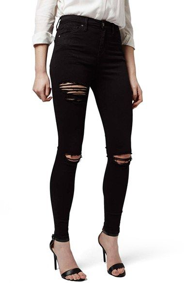 b4b00dad2359 Free shipping and returns on Topshop Destroyed High Rise Ankle Skinny Jeans  at Nordstrom.com. High-waisted jeans hug every curve in sleek