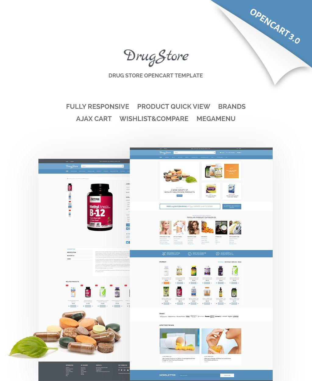 DrugStore Responsive Website Template OpenCart Template #65548