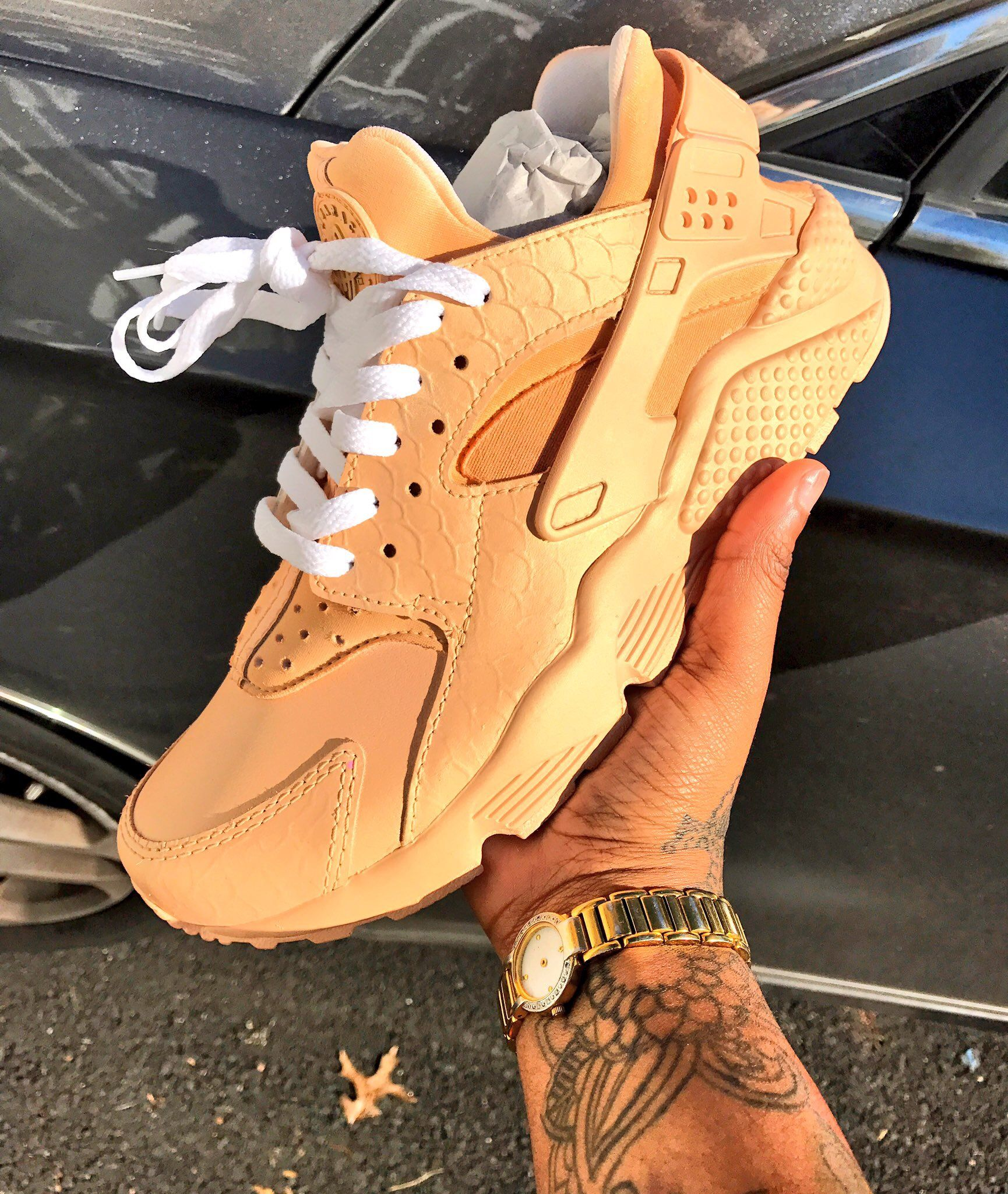 best website 8ee20 51c2d Rose gold custom huaraches by  nikebynay