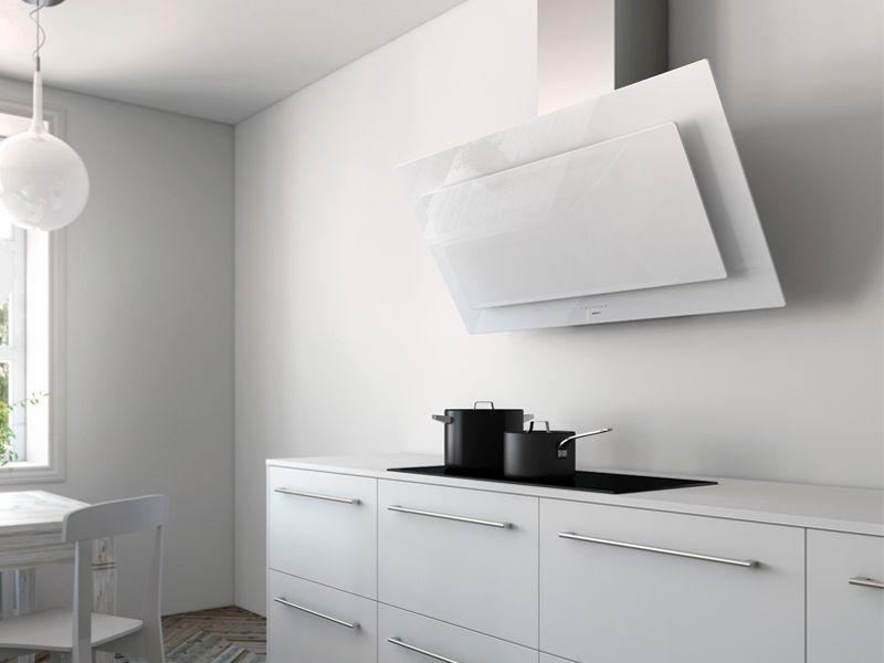 Diseño de Cocinas con Campanas de Cristal Blanco | cocina ...