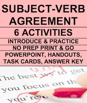 Subject Verb Agreement Bundle & ANSWER KEY | Subject verb ...