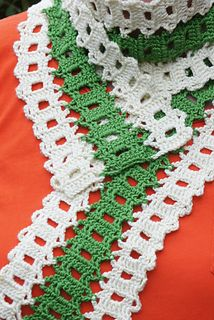 Late Summer Bruge Scarf - Free crochet Bruges Lace pattern by Susanne W. She says 'It's a fancy name for a very easy technique.' Dk yarn.