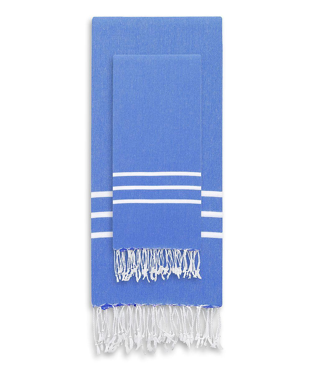 Royal Blue Turkish Pestemal Two-Piece Towel Set