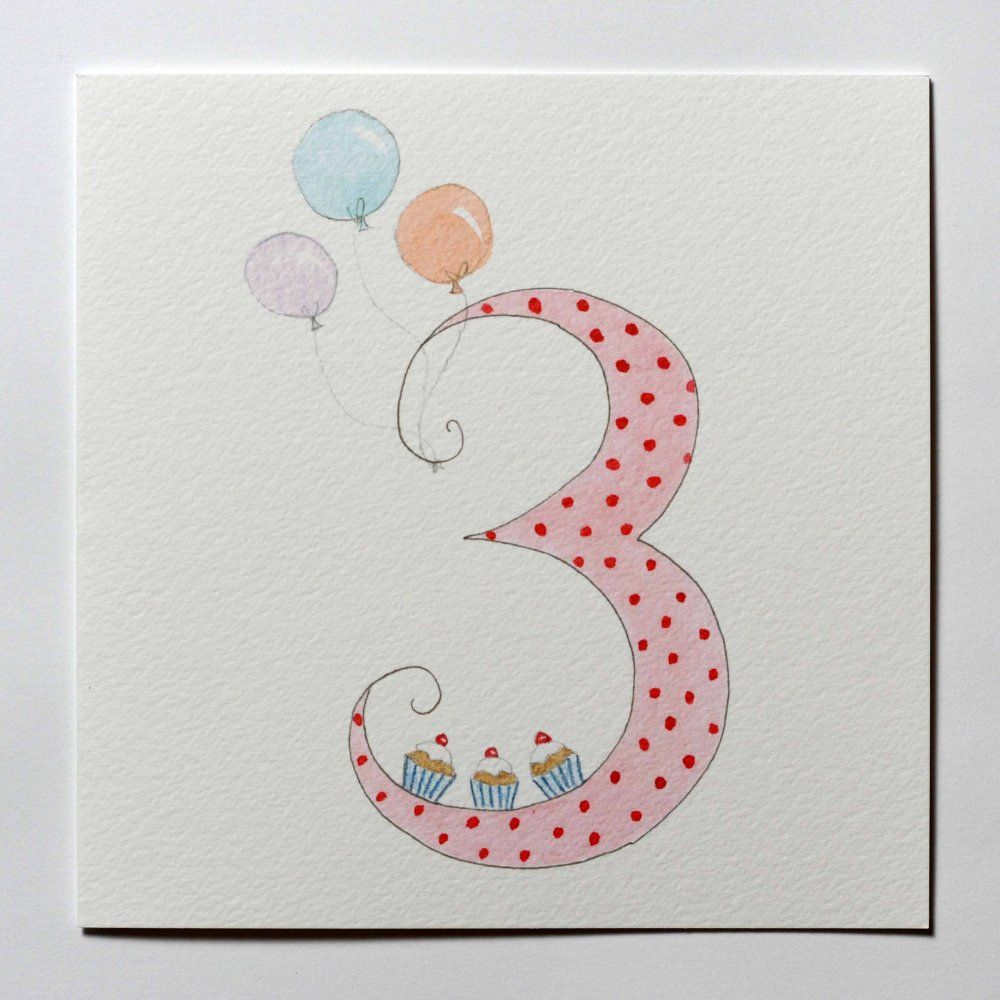 Girls hand drawn 3rd birthday card with cupcakes 1 cardstags girls hand drawn 3rd birthday card with cupcakes bookmarktalkfo Gallery