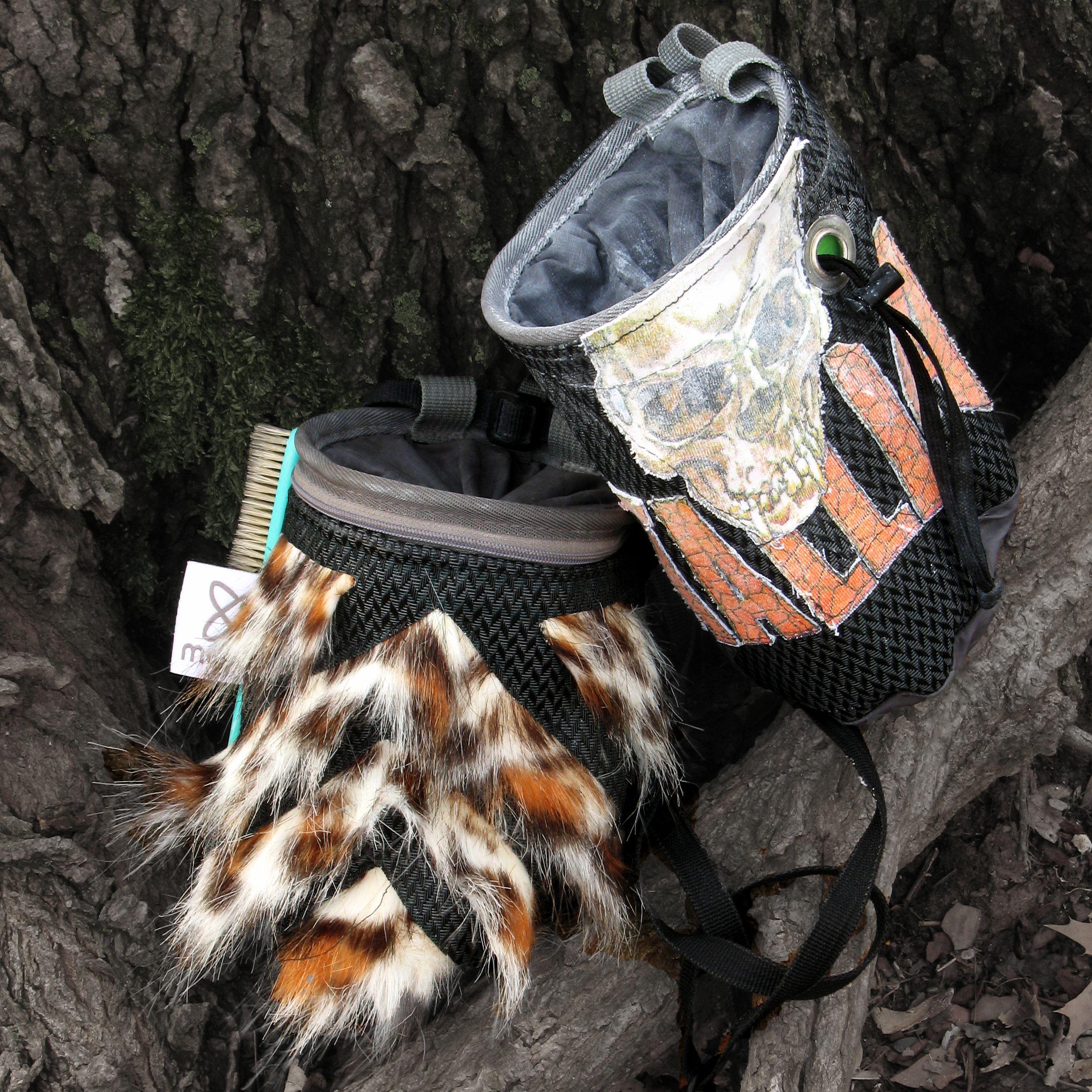 carbon fiber like black nylon Mix material meTa- chalk bag  #coolchalkbag   #carbonfiber  #leopardfur #mixfabric