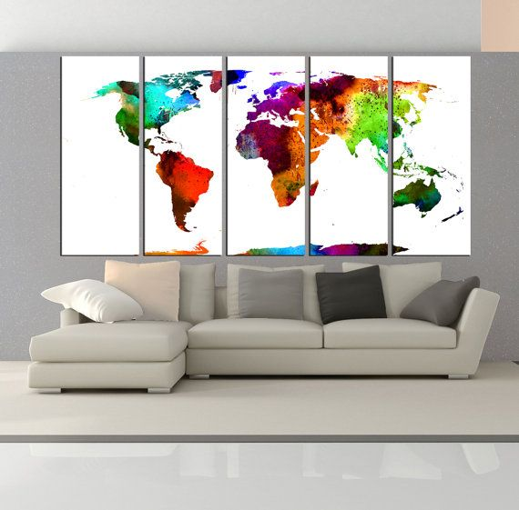 Watercolor world map wall art canvas print by worldwallartshop watercolor world map wall art canvas print by worldwallartshop gumiabroncs Image collections