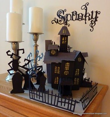 Suzy 39 s sunshine spot 3d paper craft haunted house my for How to make a cardboard haunted house