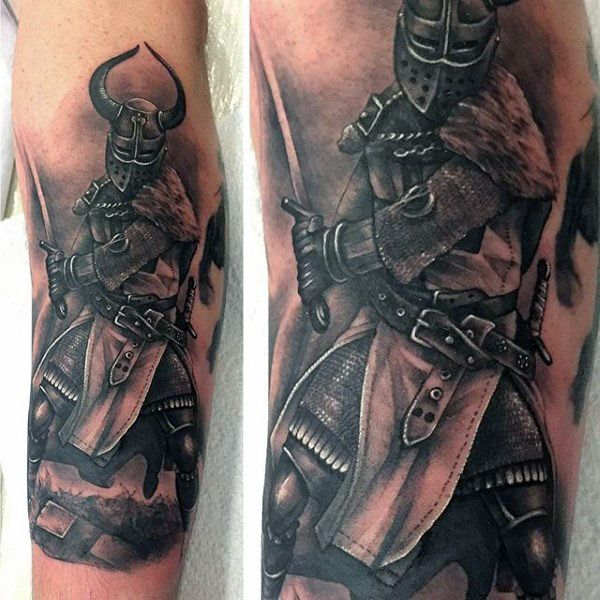 Forearm Chivalry Knight Tattoo Themes For Men | Knight ...