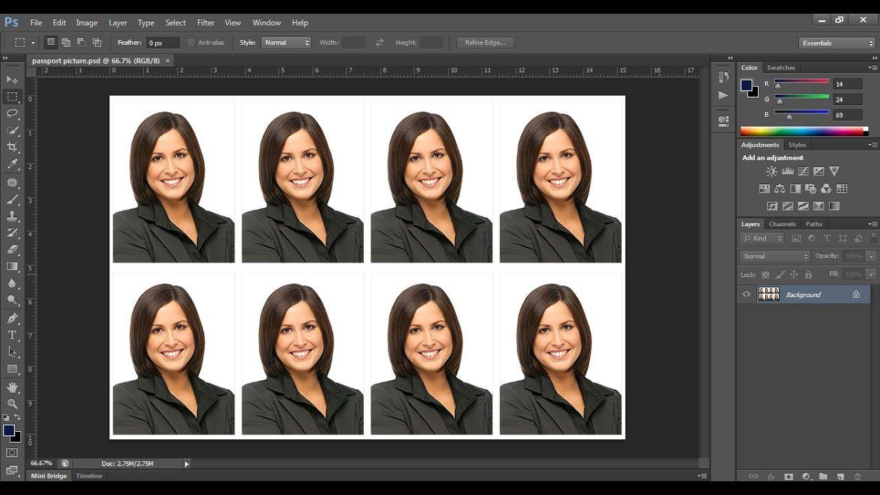 Create A Passport Size Photo In Adobe Photoshop Cc Photoshop Adobe Photoshop Photo