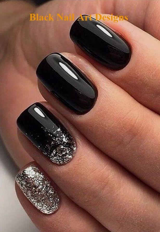 20 ideas simples de diseño de arte de uñas negras #nailart