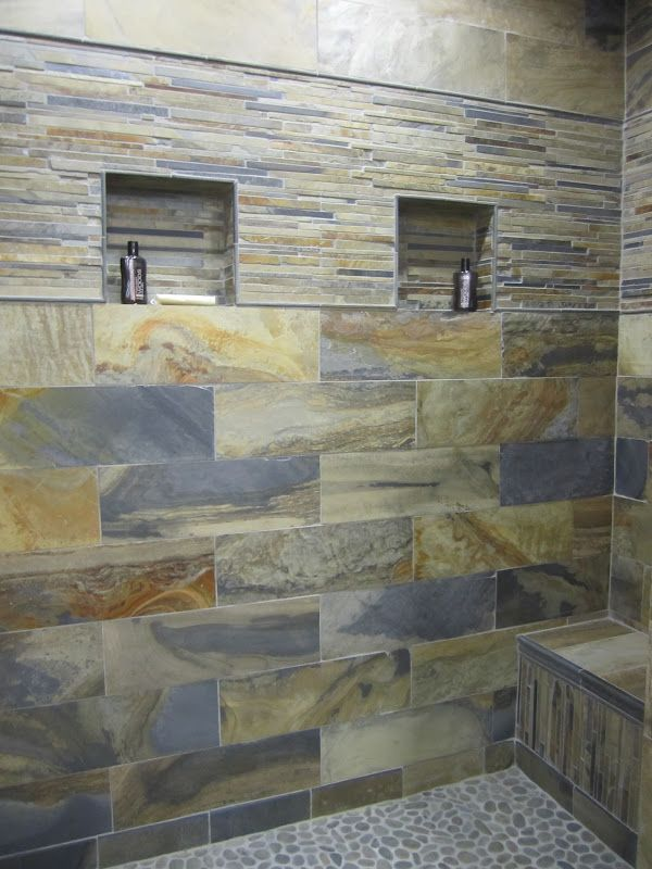 stone shower shower tile blue tiles