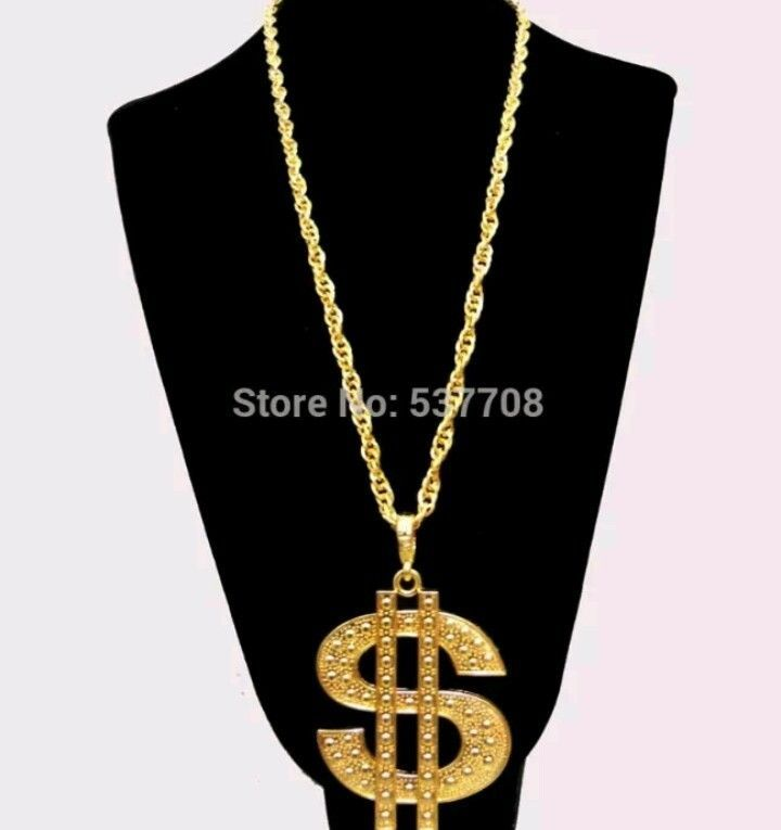Costume Culture Mens Gold 1.5 Inch Dollar Sign Necklace