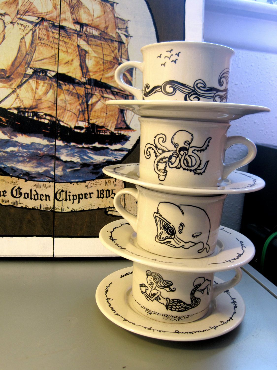 Nautical Stackable Mugs and Saucers Set of 4 by