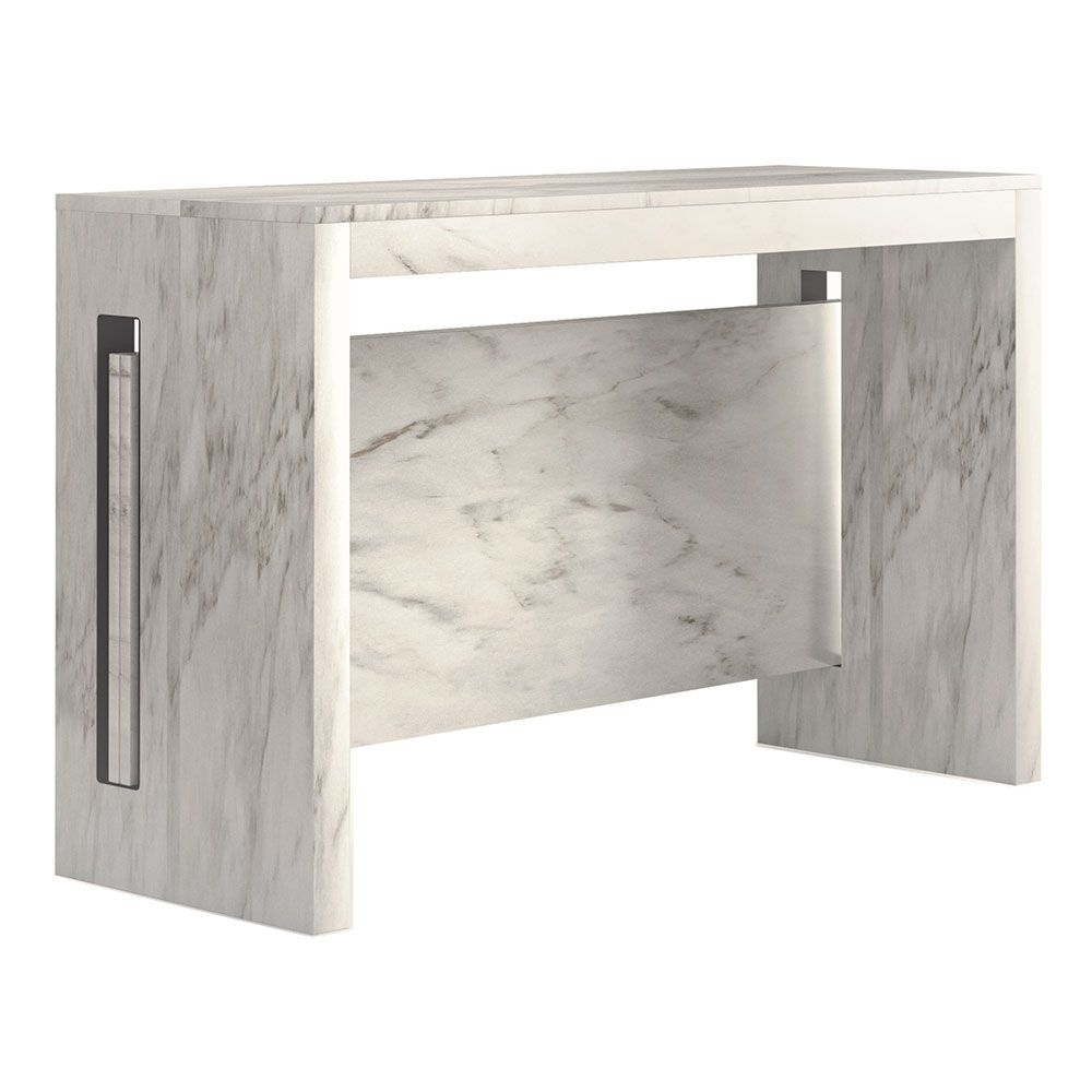 Errai Modern Console Dining Table White Marble Transforming