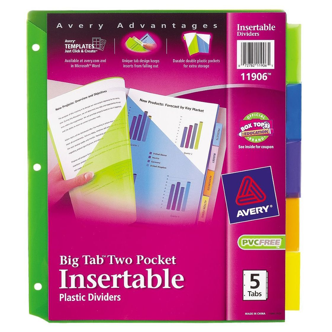 Letter Size 10-count 5-Tab Avery Insertable Clear Big Tab Dividers