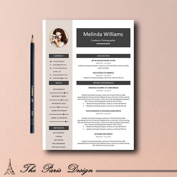 Resume Template Resume Teacher Resume Template by TheParisDesign